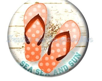 1 cabochon 25mm round glass vacation, beach