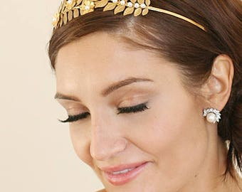 Gilded Leaf And Pearl Flower Headband Tiara Cocktail Party Hair Accessories Perfect Gifts For Her