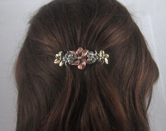 PETAL FLOWERS 70mm French Barrette-Floral Barrette- Hair Accessory- French Clips- Flower Barrette