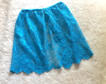Blue Lace Open Front Skirt