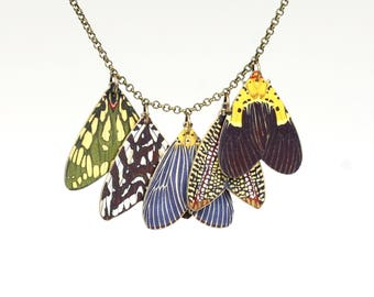 Moth Necklace Moth Charm Necklace Butterfly Wing Butterfly Wing Necklace Butterfly Charm Necklace Shrink Plastic Necklace Colorful Butterfly