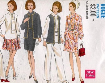 FREE US SHIP Vogue 7671 Vintage Retro 1960s 60s Pantsuit Vest Dress Jacket Bust 32.5 Pantsuit Wide Leg Sewing Pattern