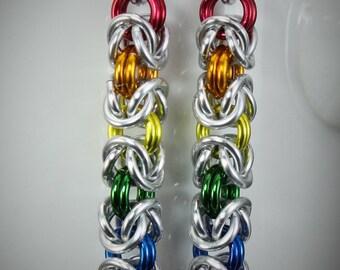 Rainbow Byzantine Drop Earrings