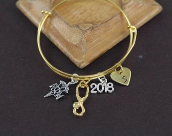 RN Nurse Graduation Gift Bangle Bracelet Stethoscope Charm Pinning Ceremony Gift Idea Gold Silver