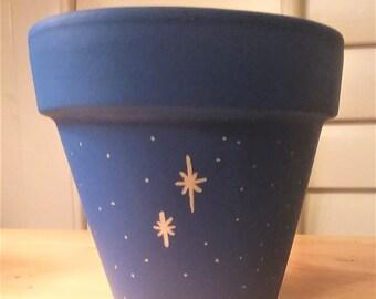 Blue Neverland Stars clay planter