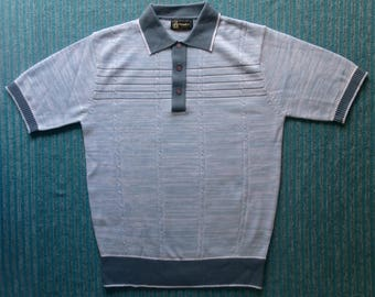"""Mid Century Men's Knitwear. Polo Top, Short Sleeves.Size """"M"""""""