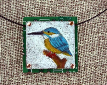 Kingfisher Bird Pendant - Colored Pencil Drawing on Copper + Up-Cycled Circuit Board