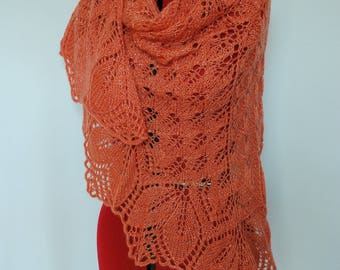 Knitted shawl, Knitted baktus, Coral lace shawl, Coral knitted wrap