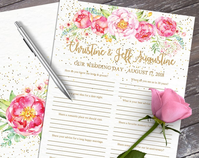 Wedding Guest Book - Guest Book Questions, Advice Card, Marriage Advice, 2-up US Letter paper   Editable Text INSTANT Download PDF Printable