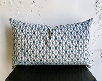 Blue Geometric Pillow Cover, 14x26 Lumbar Decorative Pillow, Watercolor Print on Linen, Washed Blue Throw Pillow Cover, Lumbar Pillow