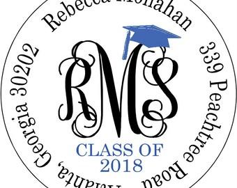 Graduation Return Address Labels White Matte Monogram Personalized Graduation Cap School Colors Round Address Seals White Matte Labels