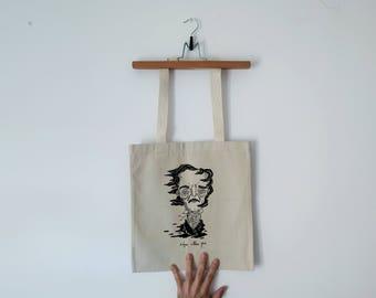 Tote Bag - Screenprint Over Cotton Canvas Tote Bag Edgar Allan Poe
