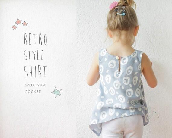 Retro SHIRT pattern pdf toddler sewing tutorial 2 to 9