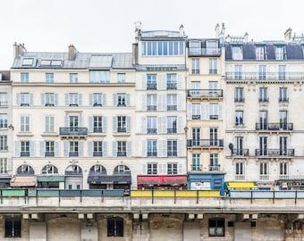 Paris Photo -Across the Seine from Ile de la Cite, Parisian Vintage Fine Art Photograph, Home Decor, Large Wall Art
