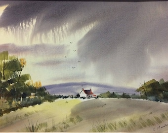Original watercolor - House on the Hill