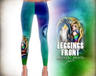 Inspired By Rainbow Brite Leggings - Rainbow Brite and Starlight  - leggings pattern- leggings print- XS, S ,M ,L ,Xl