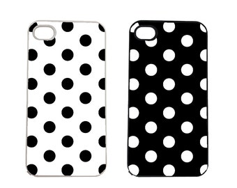 Black White Polka Dot Dots iPhone 4 4s, 5 5s 5C, 6 6S 6 Plus, IPOD 5G, Hardshell, Silicone, 2-in-1 Protective Case hs0194 White, hs0195 Blk