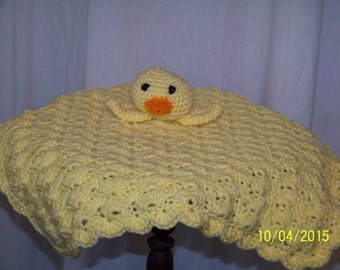 Duckie Head Lovey-yellow-hand crocheted