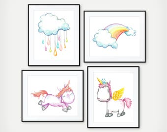 Unicorn Wall Art,- Unicorn Room Decor, Girl Unicorn Room, Unicorn Nursery, Unicorn Birthday, Unicorn Bedroom