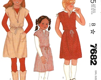 McCall's 7682 Girls Pullover Dress Pattern, 7 & 8, UNCUT