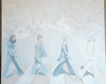 THE BEATLES original artwork album cover painting abbie road thick strokes