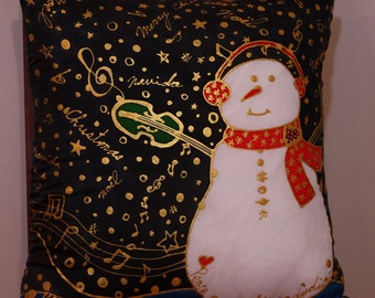 """Snowman Fiddler Pillow with insert, FREE SHIPPING, 16"""" X 16"""", Handmade Silk Pillow, Hand Painted Silk Pillow, Pillows, Mother's Day Gifts"""