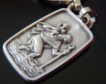 Vintage SAINT CHRISTOPHER Gott Schütze Dich May God Protect You German Religious MEDAL Key Chain