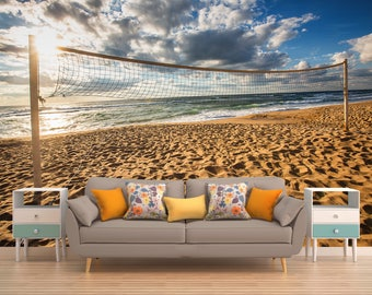 Ocean Wall Covering, Volleyball Wallpaper, Nature Wall Covering, Sea Wall Covering, Beach Wall Covering, Vinyl Peel And Stick
