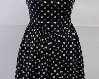 Vintage Laura Ashley Polka Dot Prom Dress UK Size 8