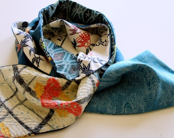Japanese silk kimono scarf | 131 | Hand made from vintage kimono fabric | Mother's Day Gift