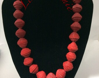 Dark red/red paper card necklace necklace