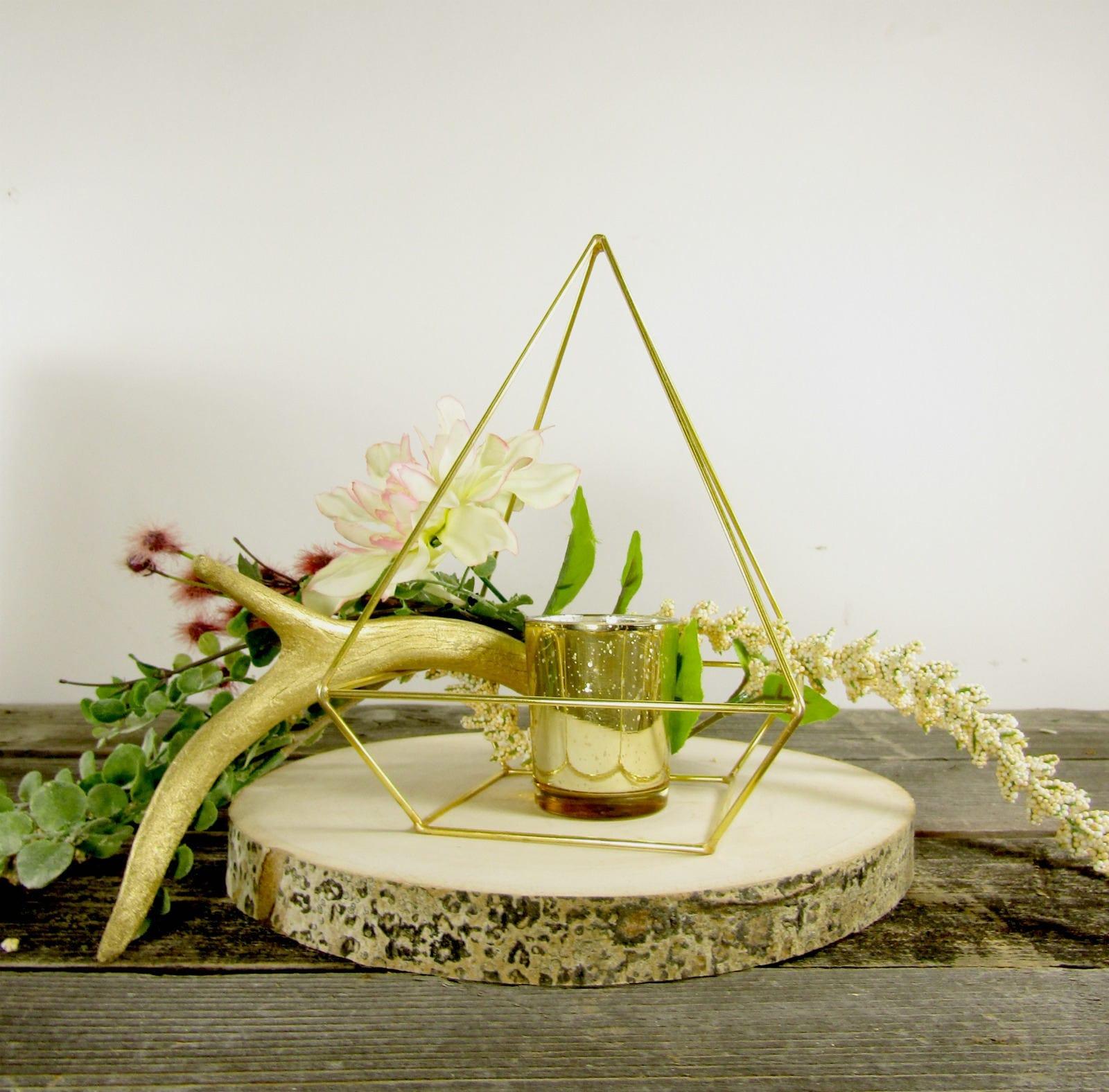 Gold himmeli pyramid bulk order geometric wedding