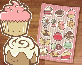 Stickers / Cute Dessert Stickers / Cupcakes / Sticker Set / Pretty Sweet / Stickers sheet / Pie Donut Stickers Macaron Cookie Cinnamon Roll