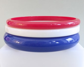 Red White & Blue Lucite Bangles, Vintage Jewelry, Stacking Lucite Bracelets, Fourth of July Bracelets, Bangle Set, Patriotic Vintage Bangles