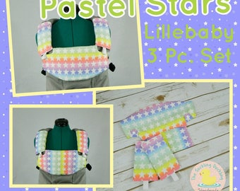 Ready to Ship ** Pastel Stars Lillebaby Carrier Headrest Bib w/ Straight Drool Pads, Fully Reversible 3 Pc. Set