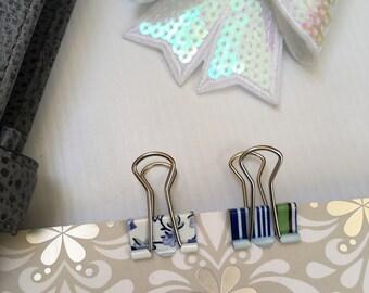 Binder Clips, Bulldog Clips,Blue Floral, Stripes. Set of 2