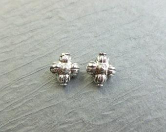 2 SILVER 925 bali beads flower star shape