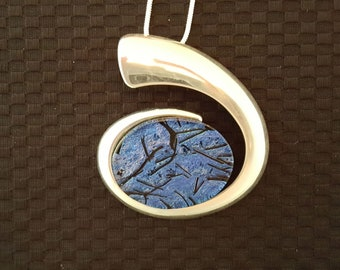 Dichroic Glass Silver Spiral Pendant on Chain