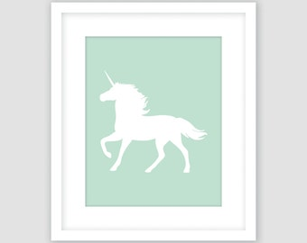 Unicorn Print, Mint Green and White Wall Art, Modern Girls Nursery Art, Instant Download, DIY, Printable