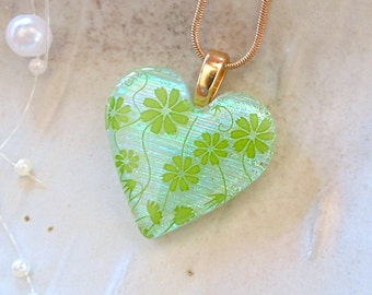Dichroic Heart Pendant, Necklace, Glass Jewelry, Green, Necklace Included, A10