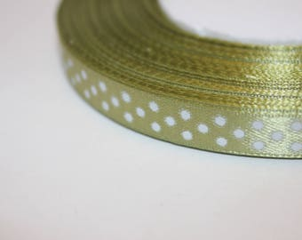 5 m jewelry scrapbooking olive10mm green dot satin ribbon