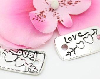 1 pendant, silver connector charm Love arrow 19x36mm