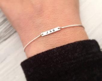 Tiny Personalized Bracelet - Minimalist Bracelet - Initial Bracelet - Custom Letter Jewelry - Dainty Silver Bracelet - Valentines Day Gift