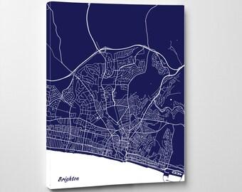 Brighton Street Map Print Map of Brighton City Street Map England Poster Wall Art 7115P