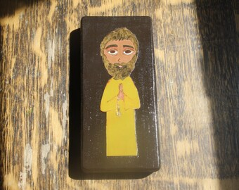 5  X 2 3/4 inch Young Saint Peter Byzantine/Folk Icon on wood