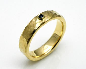 Bandring with Sapphire, 14k gold, 6 mm wide