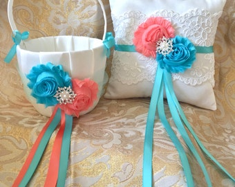 Custom Ring Pillow and Flower Girl Basket, Custom Ring Bearer Pillow, Custom Flower Girl Basket, Ring Pillow, Flower girl basket