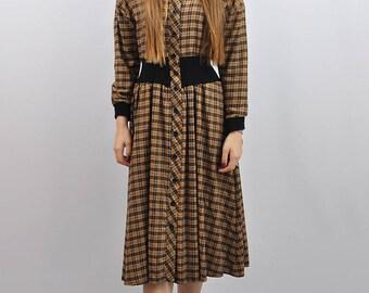 Vintage 80s Check Midi Dress