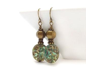 Aqua/Moss Green Earrings - Picasso Glass Ovals - Etched Glass - Antique Bronze - Dangle Earrings
