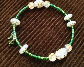 Sparkly Memory Wire Bracelets - Green and White Czech Glass Beads & Crystals